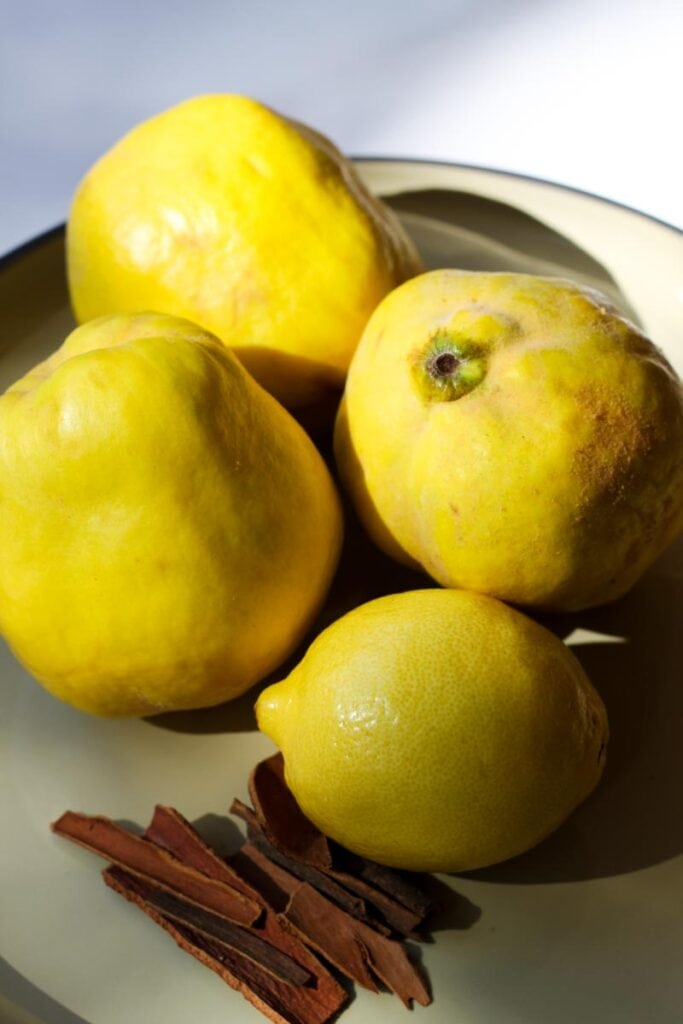 Fresh whole quince with cinnamon sticks on a plate