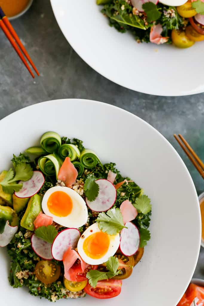 Kale Quinoa Salad with Salmon and Miso Dressing