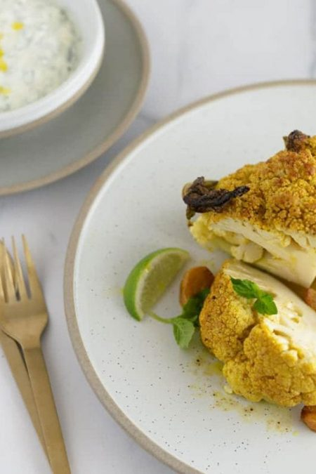 whole roasted cauliflower with garlic and lime