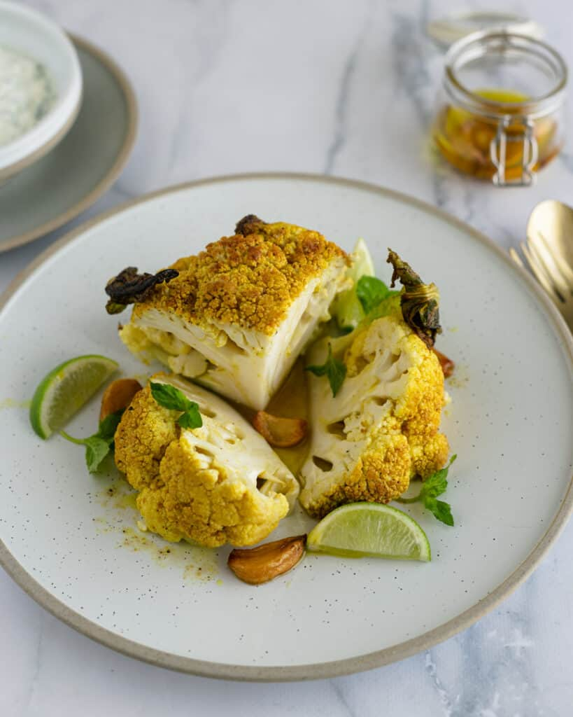 roasted cauliflower with lime and garlic