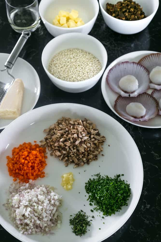 Porcini Mushroom Risotto with scallops Ingredients
