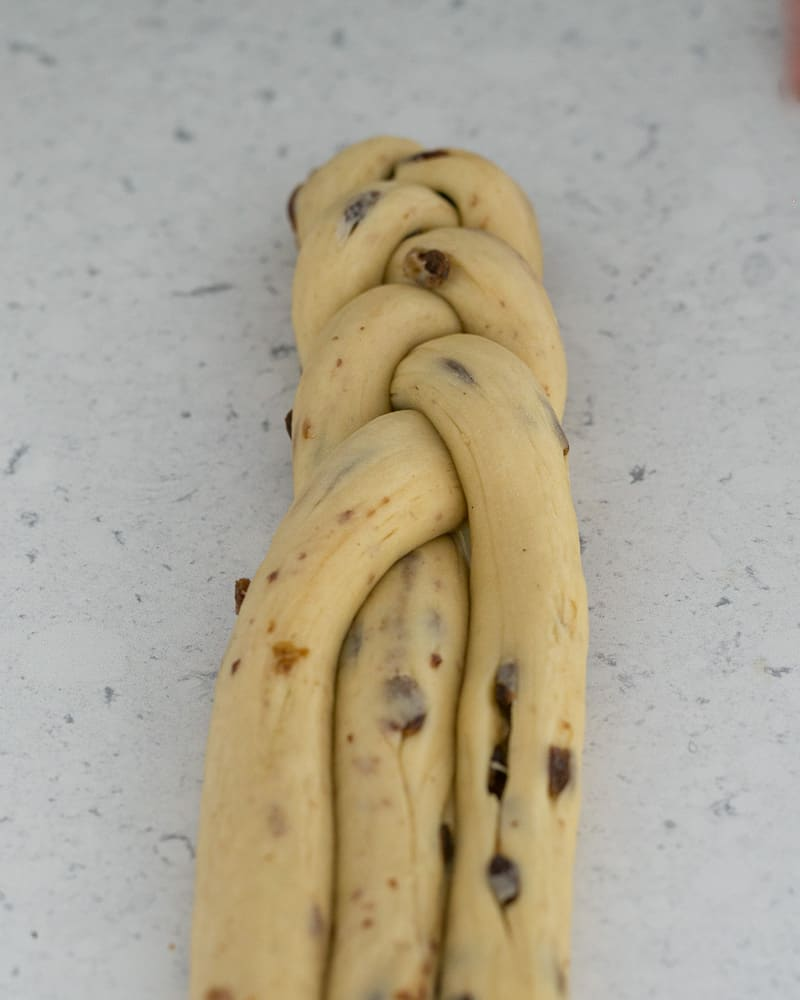 Easter Zopf dough being braided