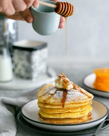 Souffle-Style Pancake Stack with Fresh Ricotta and Almond