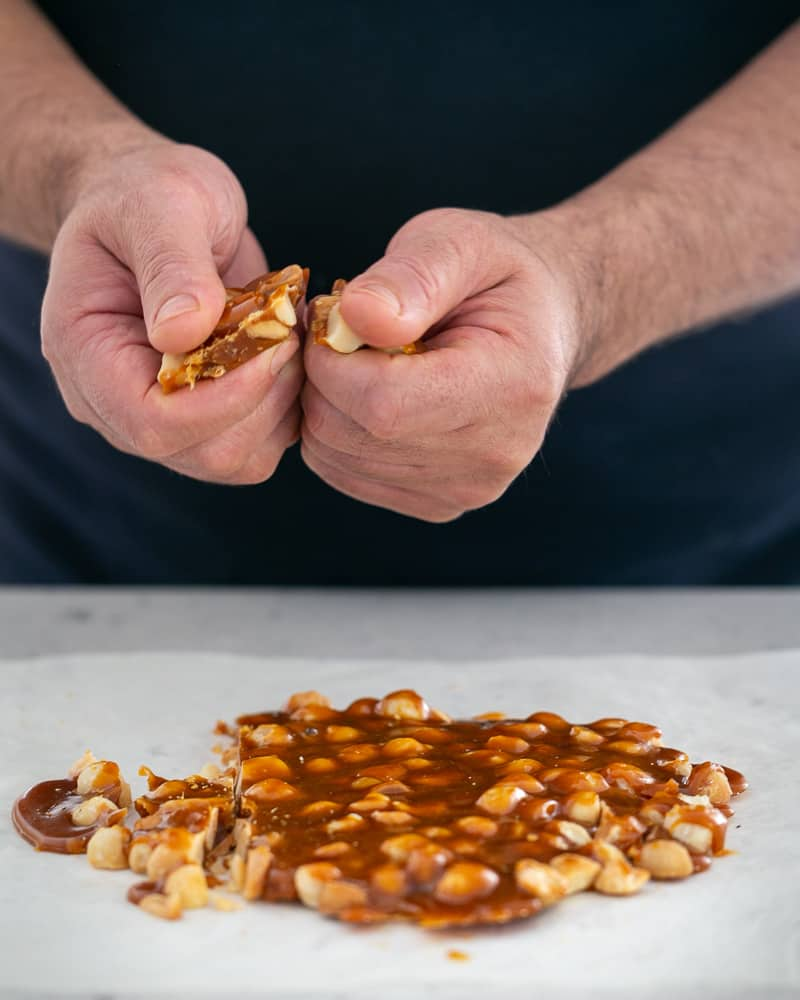 The macadamia brittle should be easy to snap