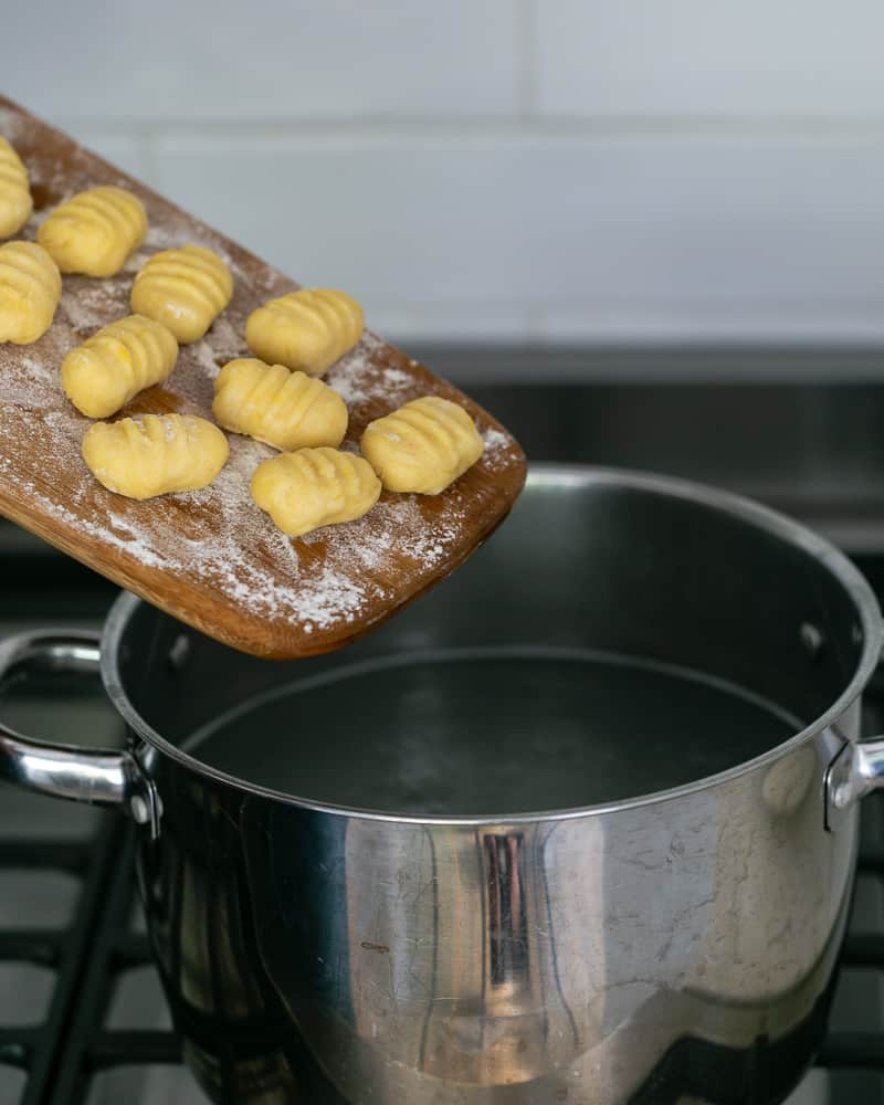Ricotta gnocchi's cooked in boiling water