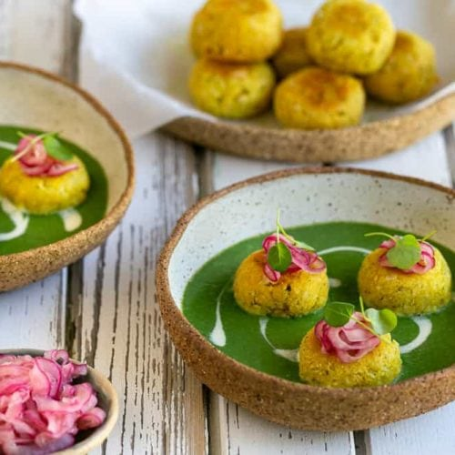 Paneer and Potato Dumplings with Spinach Sauce