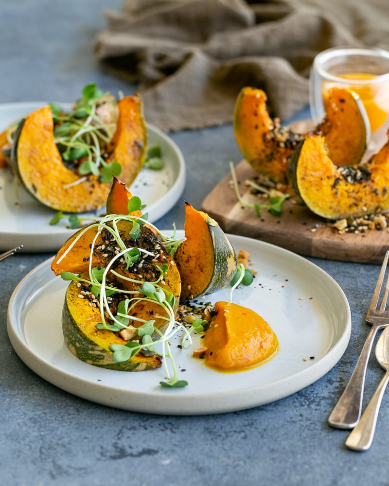 Roasted Pumpkin with Miso and Nori Nut Dukkah on a plate