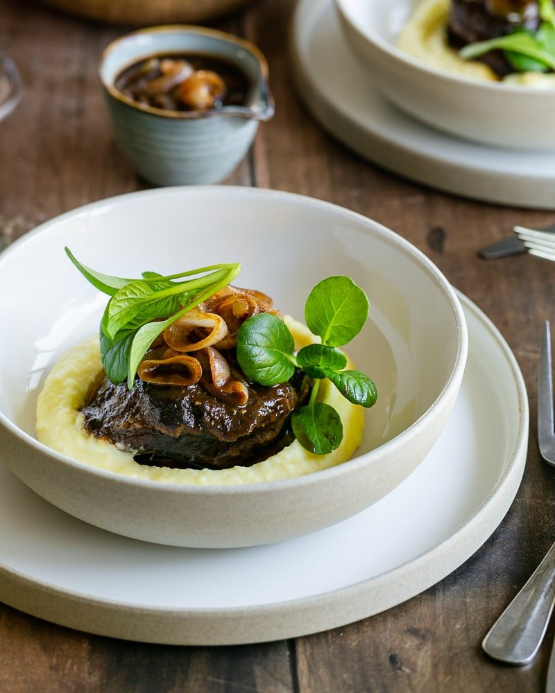 Braised Beef Cheeks with Shallot Jus