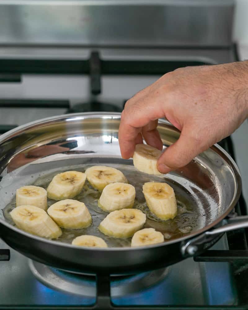 Caramelizing banana slices in butter for Dulce de Leche Verrine with Banana and whipped Cream