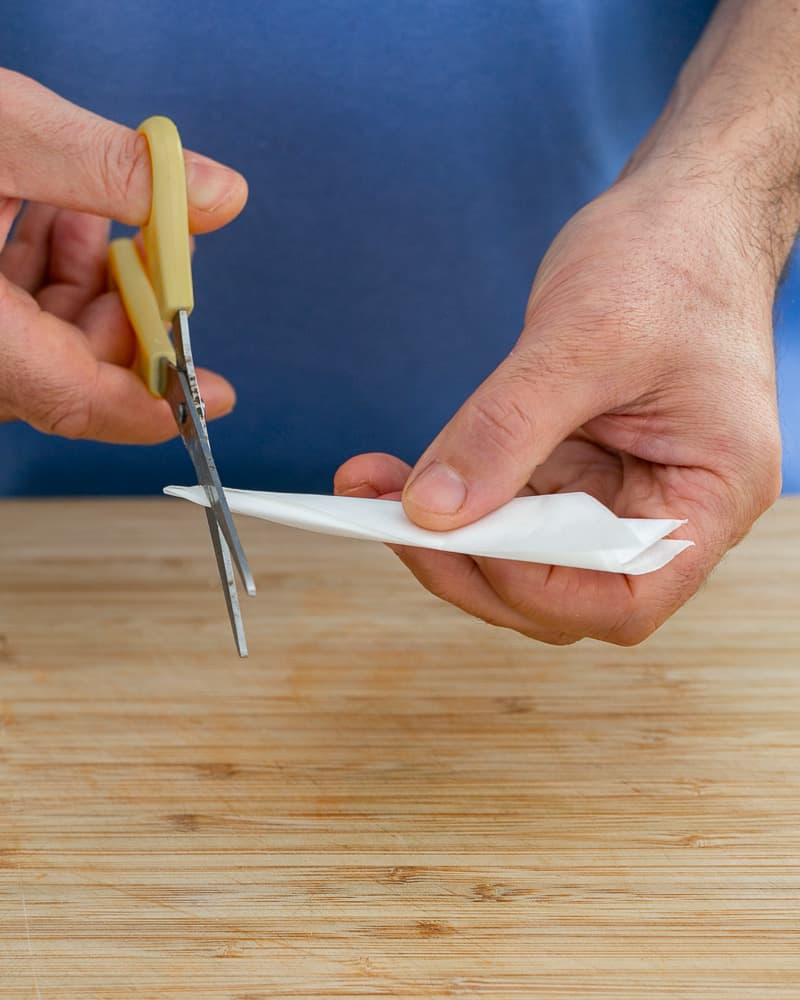 Steps to make cartouche for poaching pears