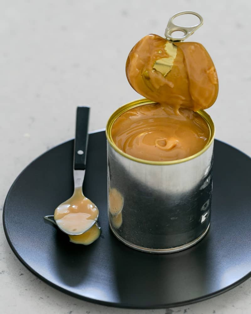 Condensed milk turned into Dulce de Leche in the can