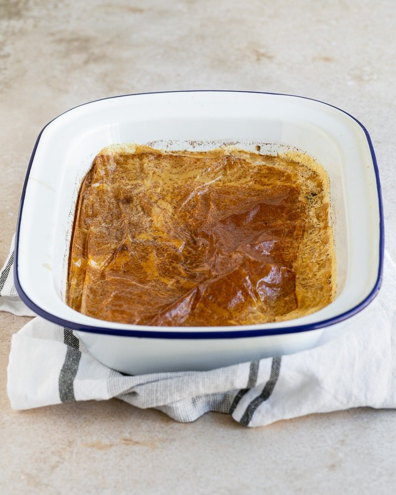 French Baked Rice Pudding out of the oven