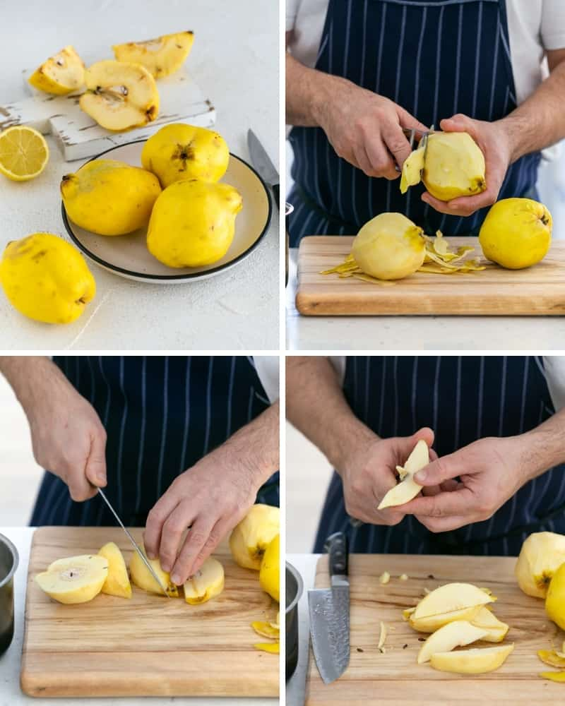 How to peel and cut quince for Quince Tart with Meringue