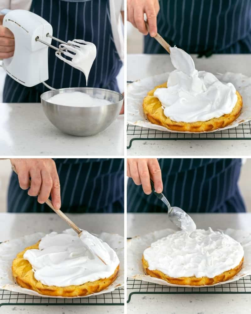 putting whipped meringue on a cake