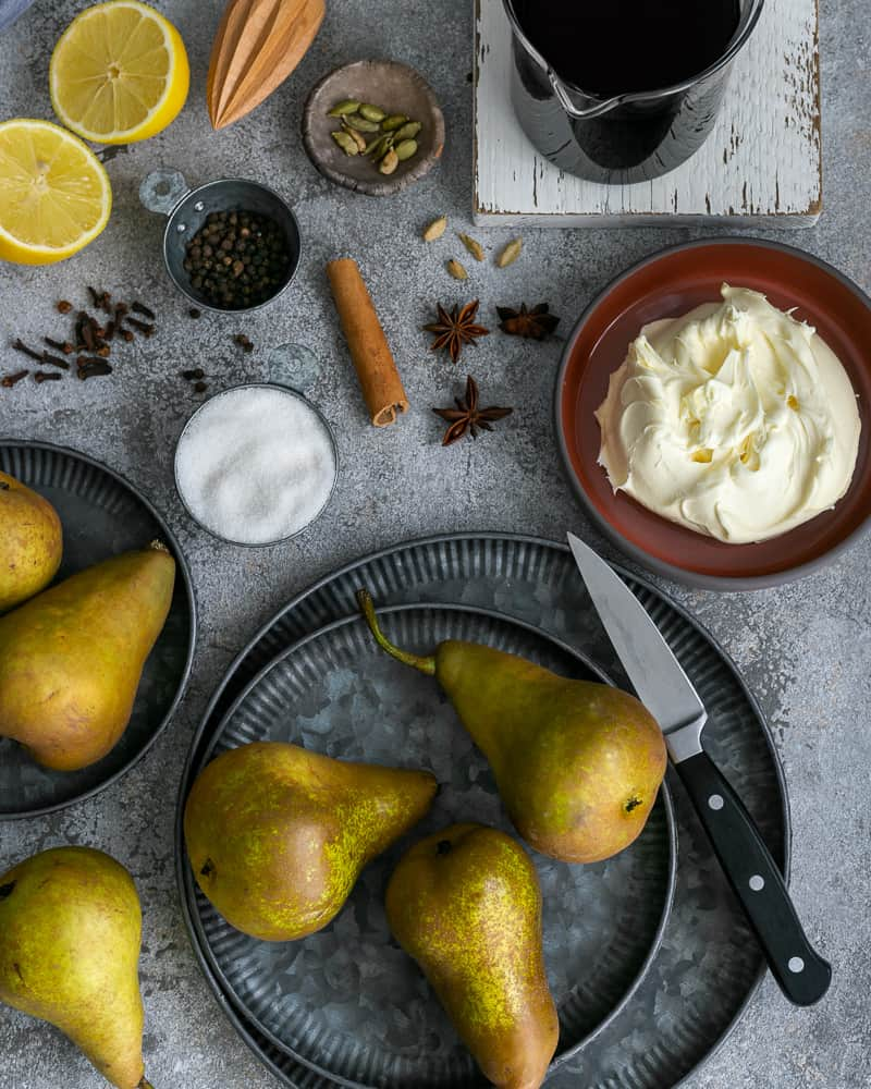 Ingredients to make Spice Poached Pears with Mascarpone