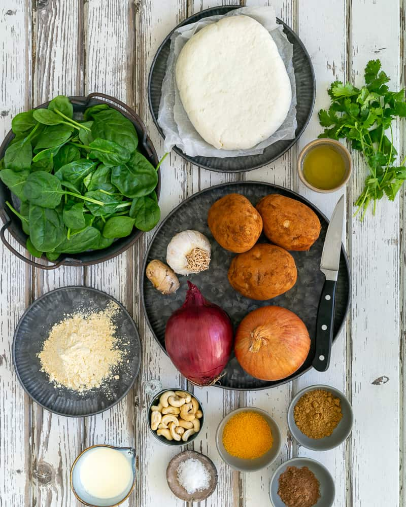 Ingredients for making Paneer and Potato Dumplings with Spinach Sauce