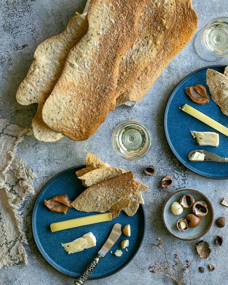 Spiced Lavosh Crackers served with cheese and wine