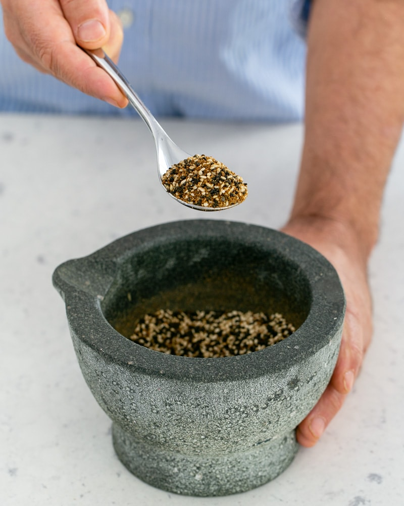 Toasted sesame seeds added to the spice mix
