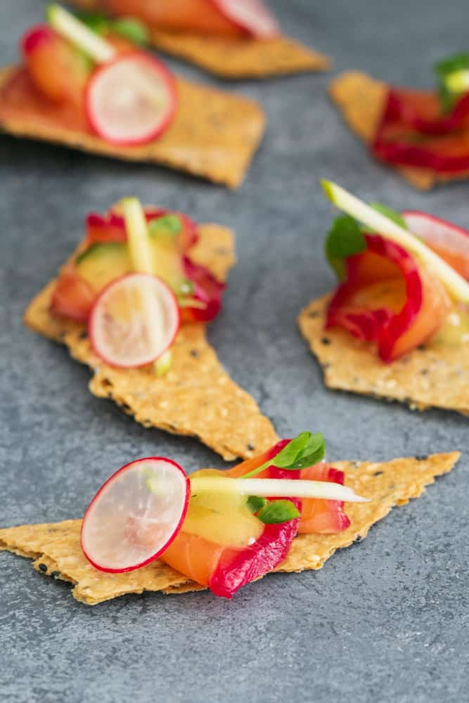 Beetroot and Gravelax on lavash cracker with Mustard and Dill sauce