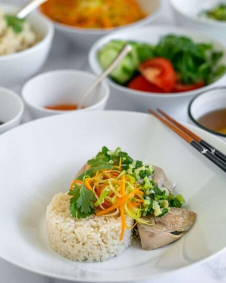 Chicken with ginger rice, vegetables and spring onion sauce beautifully plated with condiments in small bowls