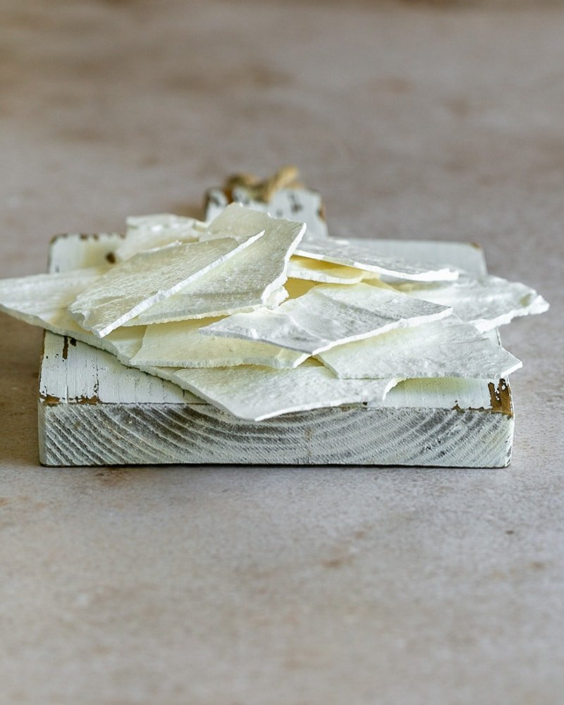 Meringue Shards on a white wooden board