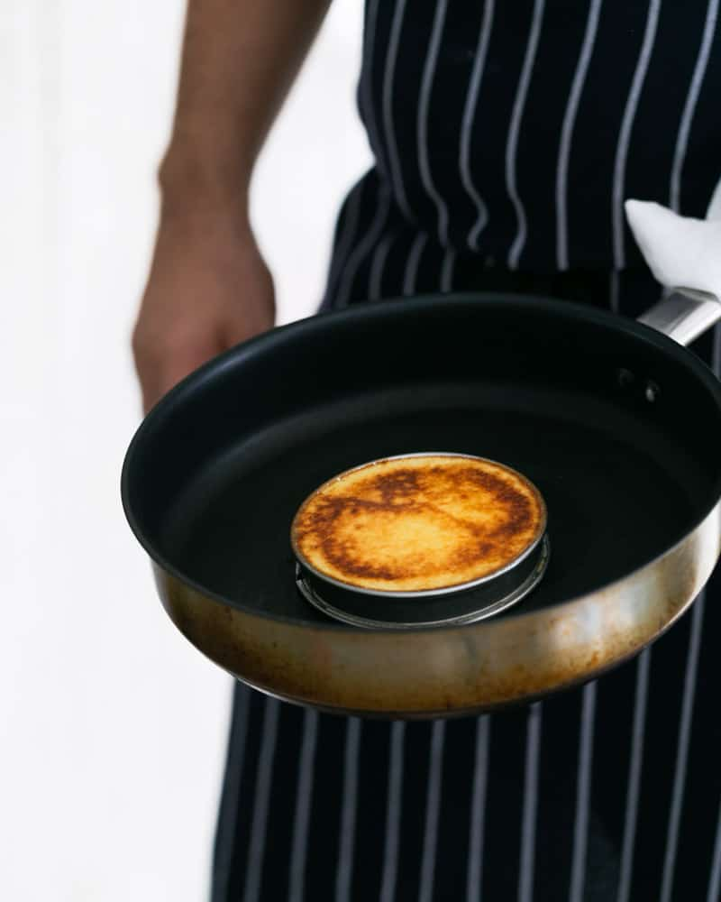 Souffle-Style Pancakes made with a ring mould in a hot pan