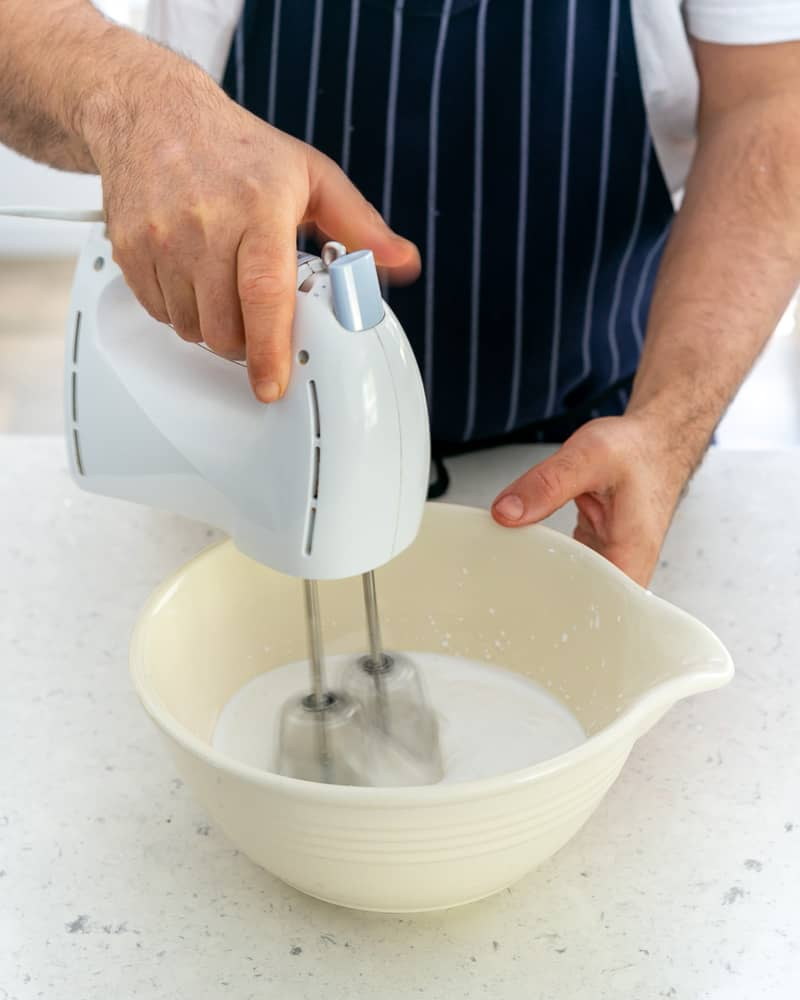 Coconut cream added to the mixing bowl