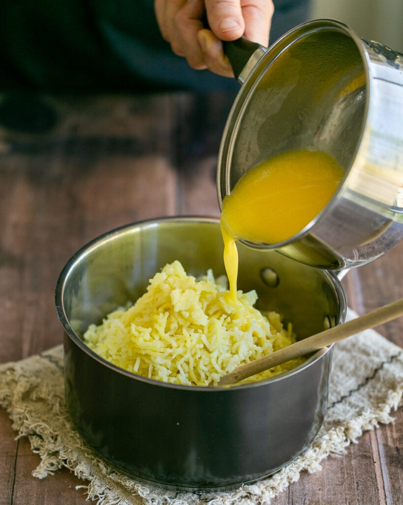 Adding butter and Milk to mashed potatoes