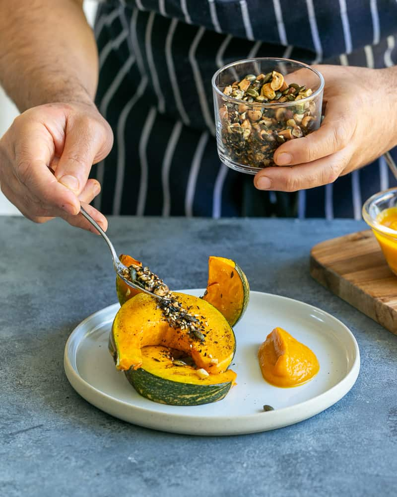 How to plate up Roasted Pumpkin with Miso and Nori Nut Dukkah