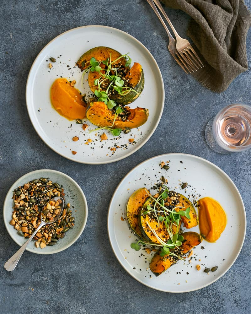 Roasted Pumpkin with Miso and Nori Nut Dukkah overhead picture
