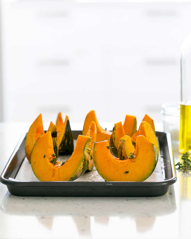 Roasted Pumpkin with Miso and Nori Dukkah ready to be roasted in the oven