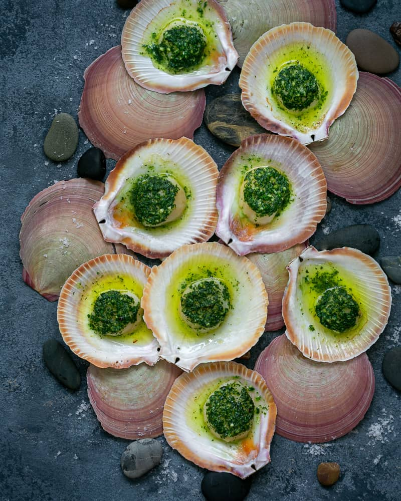 How to serve Scallops baked in the shell with garlic butter