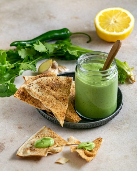 Avocado and Coriander Chutney with bread on the side