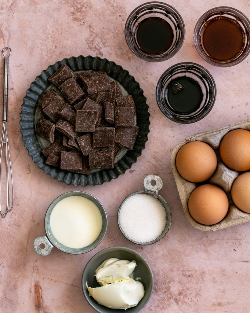 Ingredients for making dark chocolate mousse with coffee granita