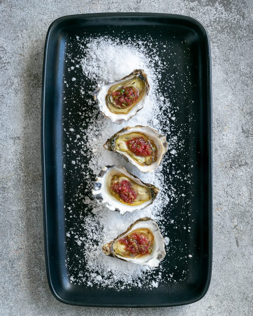 Oysters with finger lime dressing