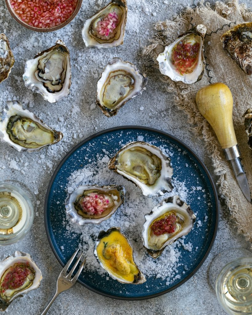 Selection of oysters on a plate
