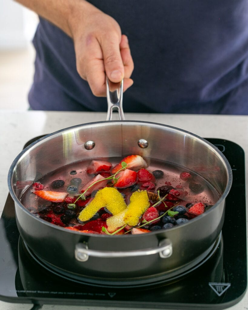 Simmering berry soup