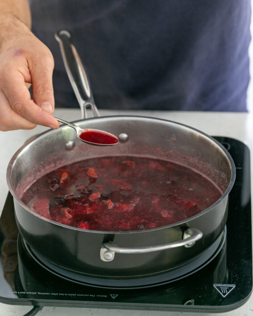 cooked berry soup in pan