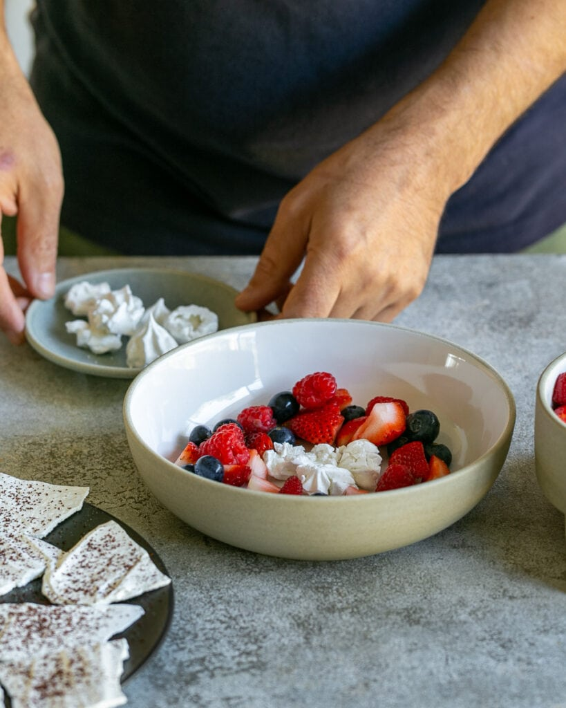 Using crushed meringue drops for dessert plate up