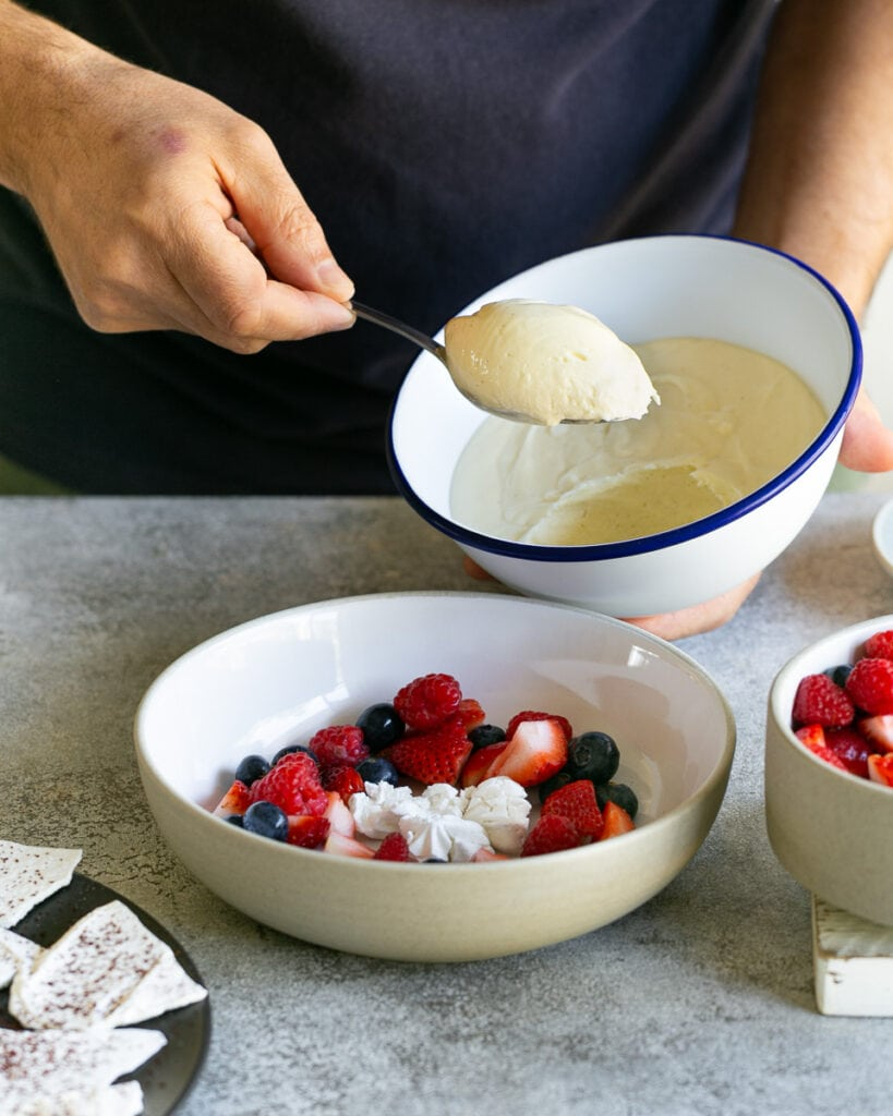 White chocolate mousse quenelle